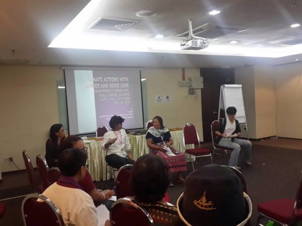 A workshop on Impacts of Climate Change on Women, Indigenous Peoples and LGBTIs, coorganised by Climate Watch Thailand, APWLD, TEA and SOGIE Caucus, during the ACSC/APF 2015 in Kuala Lumpur, Malaysia