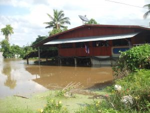 Flood affected house in Bang Rakham